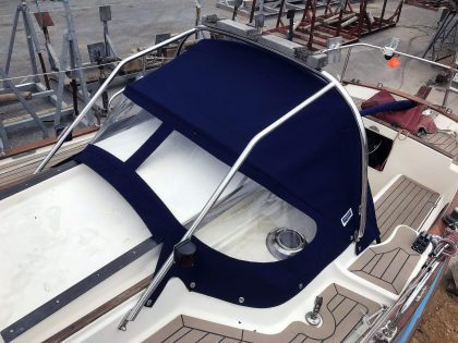 Yarmouth 23, JABIRU, Sprayhood recover on factory supplied frame front 1