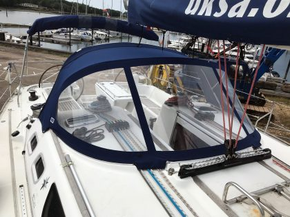 Jeanneau Sun Odyssey 43, AMBITION, Tecsew Sprayhood 2019 new design front 1