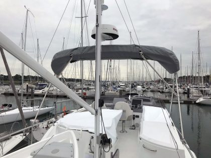 Beneteau Swift Trawler ST 44 Flybridge Bimini rolled up 2