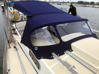 Victoria 34, SYMPHONY, Bimini with Zipped Side Shade Panel fitted to Tecsew Sprayhood Recover front 3