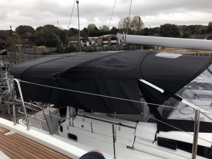 Jeanneau Sun Odyssey 490 Bimini, Side Shade Panels and Sprayhood Connection Panel right side view 2