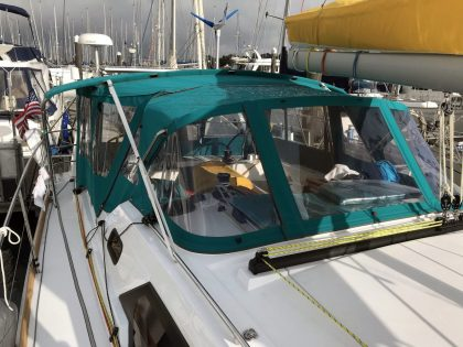 Allures 45.9 Bimini Conversion fitted to Tecsew Sprayhood and Bimini front 1