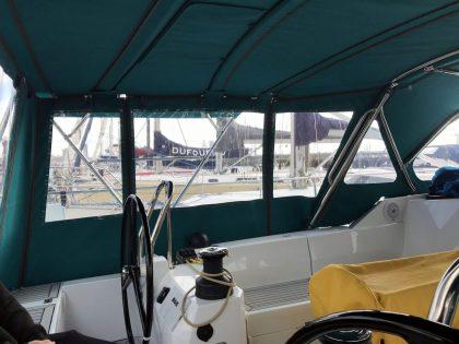 Allures 45.9 Bimini Conversion fitted to Tecsew Sprayhood and Bimini interior view 5