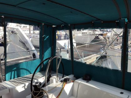 Allures 45.9 Bimini Conversion fitted to Tecsew Sprayhood and Bimini interior view 3