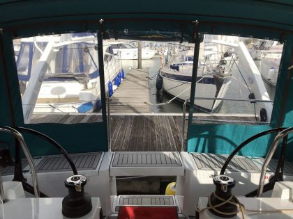 Allures 45.9 Bimini Conversion fitted to Tecsew Sprayhood and Bimini interior view 2