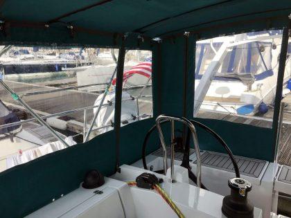Allures 45.9 Bimini Conversion fitted to Tecsew Sprayhood and Bimini interior view 1