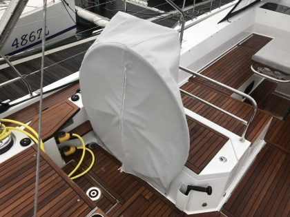 Beneteau 62 Wheel and Pedastal Covers front view 1