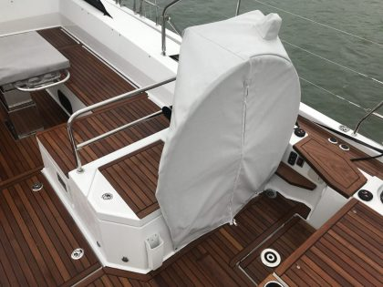 Beneteau 62 Wheel and Pedastal Covers front view 2
