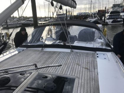 Hanse 458 Sprayhood, Non standard 2 bar design front view 1