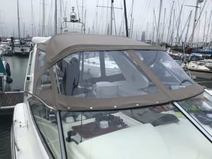"Sealine S34 ""Easy Does It"", Replacement Cockpit Canopies, front view 1"