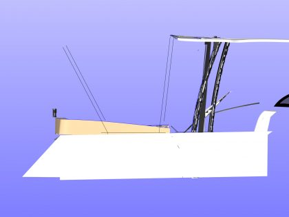 Side showing frame stored against T top on sliding track