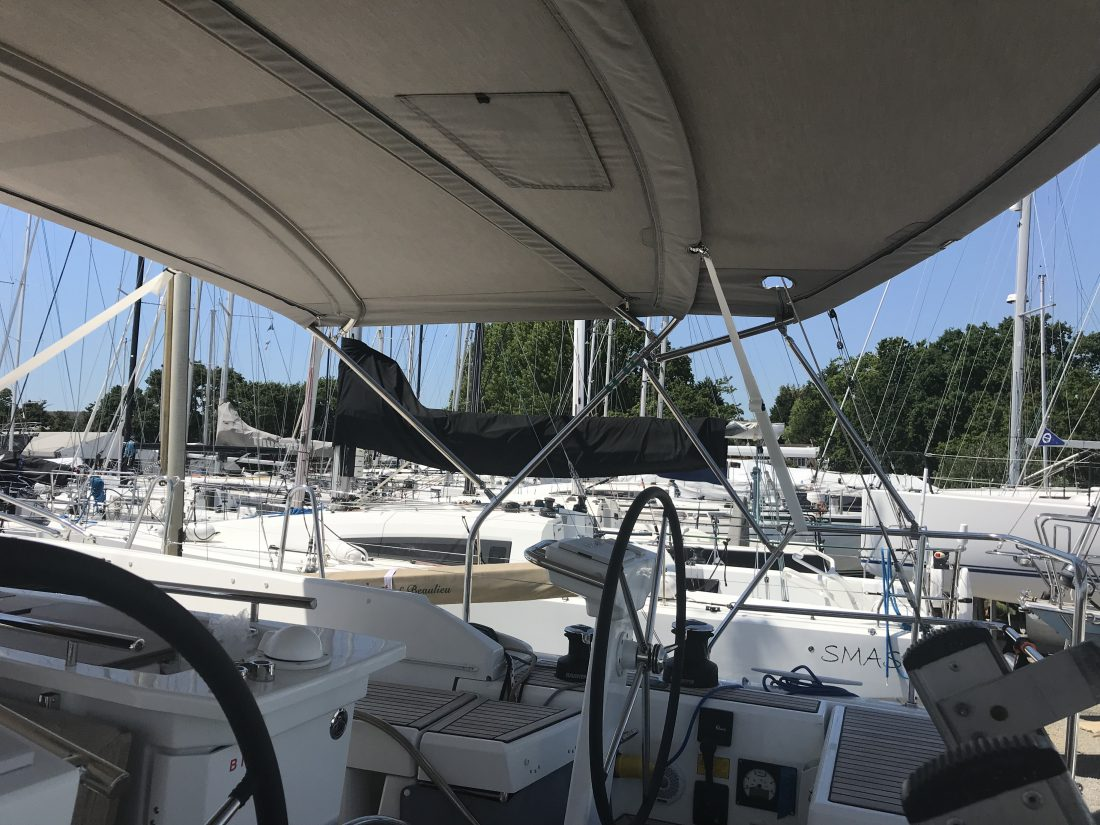 Beneteau Oceanis 46.1 AZURA, version with no arch fitted, Bimini